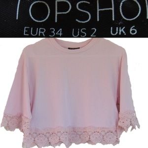 Topshop Boxy Lace Trim Top Size 2